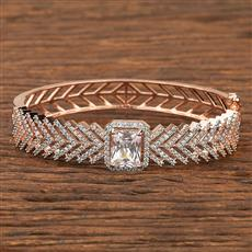 411995 Cz Classic Kada With Rose Gold Plating