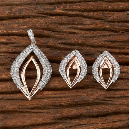 412005 Cz Classic Pendant Set With Rose Gold Plating