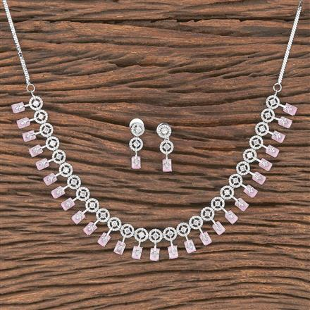 412073 Cz Classic Necklace With Rhodium Plating