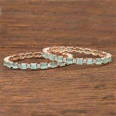 412081 Cz Classic Bangles With Rose Gold Plating