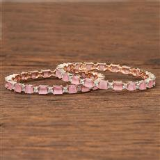 412082 Cz Classic Bangles With Rose Gold Plating