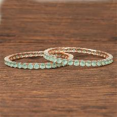 412085 Cz Classic Bangles With Rose Gold Plating