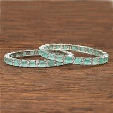 412087 Cz Classic Bangles With Rhodium Plating
