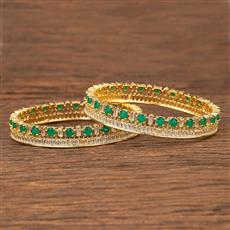 412089 Cz Classic Bangles With Gold Plating