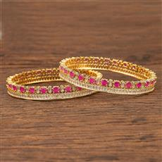 412090 Cz Classic Bangles With Gold Plating