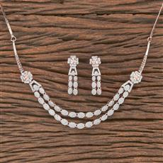 412135 Cz Classic Necklace With Rose Gold Plating