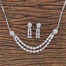 412136 Cz Classic Necklace With Rhodium Plating