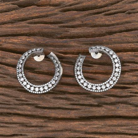 412137 Cz Chand Earring With Black Plating