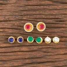 412154 Cz Changeable Stone Earring With Gold Plating