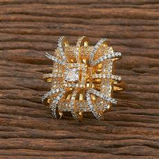 412192 Cz Classic Ring With 2 Tone Plating
