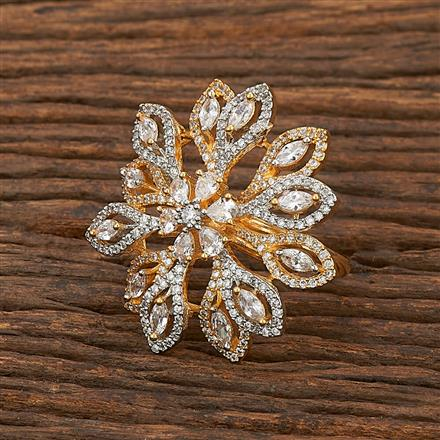 412197 Cz Classic Ring With 2 Tone Plating