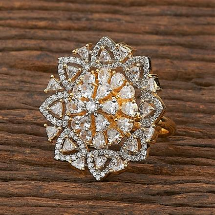 412198 Cz Classic Ring With 2 Tone Plating