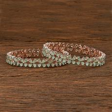 412213 Cz Classic Bangles With Rose Gold Plating
