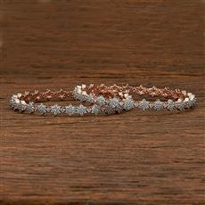 412214 Cz Classic Bangles With Rose Gold Plating