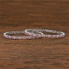 412216 Cz Classic Bangles With Rhodium Plating
