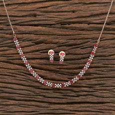 412218 Cz Classic Necklace With Rose Gold Plating