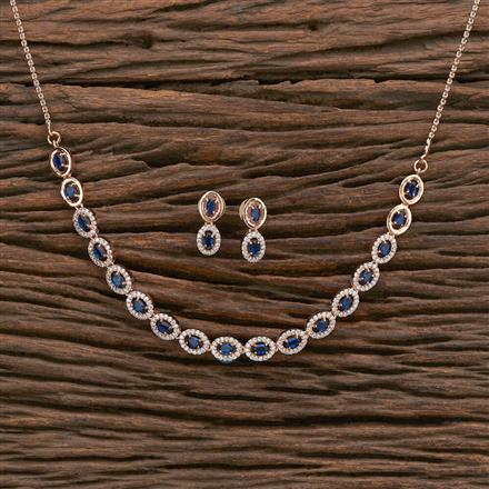 412219 Cz Classic Necklace With Rose Gold Plating