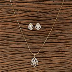 412220 Cz Classic Pendant Set With 2 Tone Plating