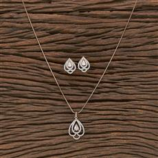 412221 Cz Delicate Pendant Set With Rose Gold Plating