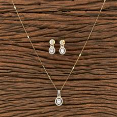 412223 Cz Classic Pendant Set With 2 Tone Plating