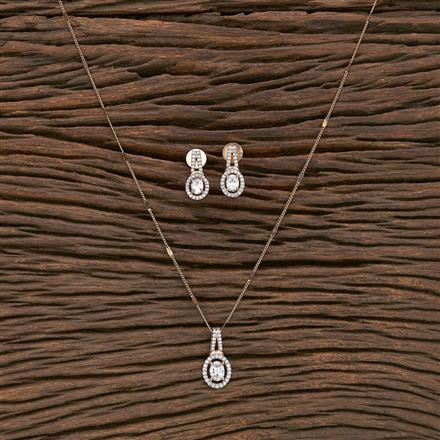 412224 Cz Delicate Pendant Set With Rose Gold Plating