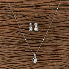 412225 Cz Classic Pendant Set With Rhodium Plating