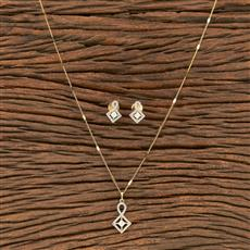 412229 Cz Classic Pendant Set With 2 Tone Plating