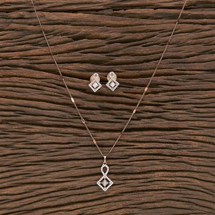 412230 Cz Delicate Pendant Set With Rose Gold Plating