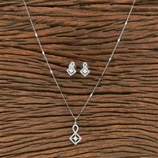 412231 Cz Classic Pendant Set With Rhodium Plating