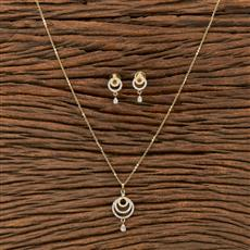 412235 Cz Classic Pendant Set With 2 Tone Plating