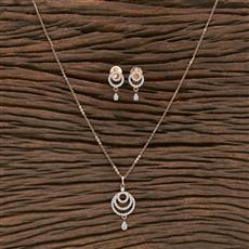 412236 Cz Delicate Pendant Set With Rose Gold Plating