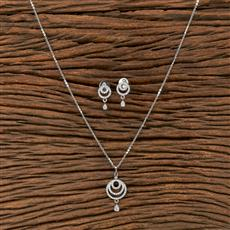 412237 Cz Classic Pendant Set With Rhodium Plating
