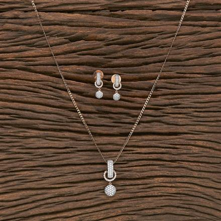 412238 Cz Delicate Pendant Set With Rose Gold Plating
