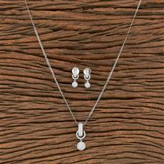 412239 Cz Classic Pendant Set With Rhodium Plating