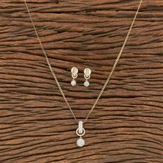 412240 Cz Classic Pendant Set With 2 Tone Plating