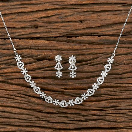 412241 Cz Classic Necklace With Rhodium Plating