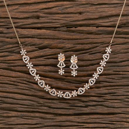 412242 Cz Classic Necklace With Rose Gold Plating