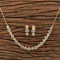 412243 Cz Classic Necklace With 2 Tone Plating