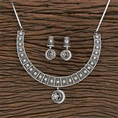 412251 Cz Classic Necklace With Rhodium Plating