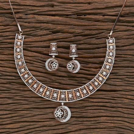 412252 Cz Classic Necklace With Rose Gold Plating