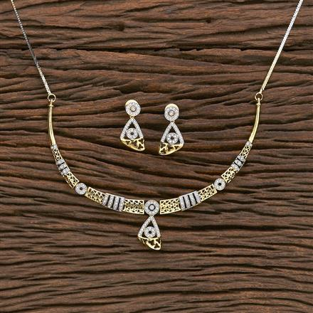 412253 Cz Classic Necklace With 2 Tone Plating