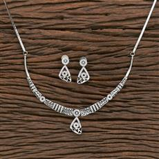 412254 Cz Classic Necklace With Rhodium Plating