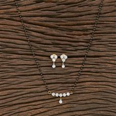 412257 Cz Classic Mangalsutra With 2 Tone Plating