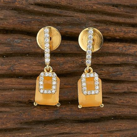 412259 Cz Short Earring With Gold Plating