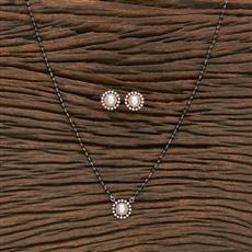 412286 Cz Classic Mangalsutra With Rose Gold Plating