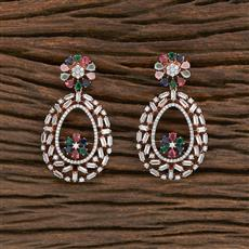 412298 Cz Classic Earring With Rose Gold Plating