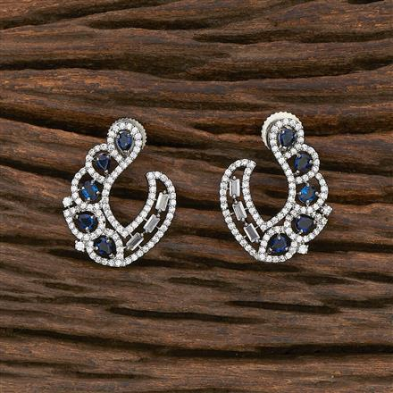 412299 Cz Chand Earring With Black Plating