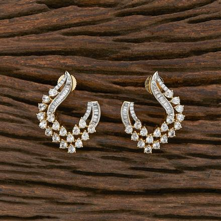 412300 Cz Chand Earring With 2 Tone Plating