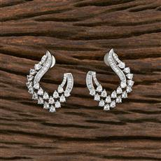 412301 Cz Chand Earring With Rhodium Plating