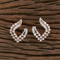 412302 Cz Chand Earring With Rose Gold Plating